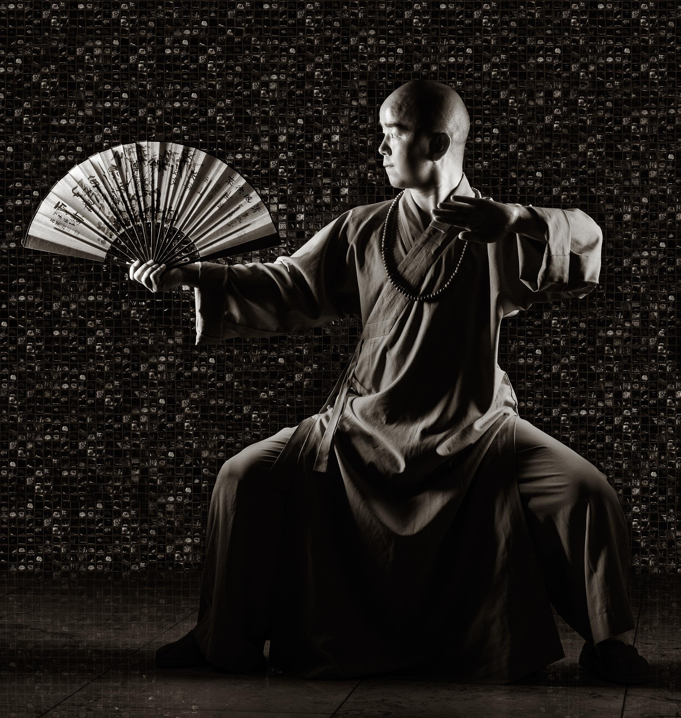 Portrait of Master Hu, an expert in the ancient discipline of Shaolin kung fu, during a recent visit to Macau.