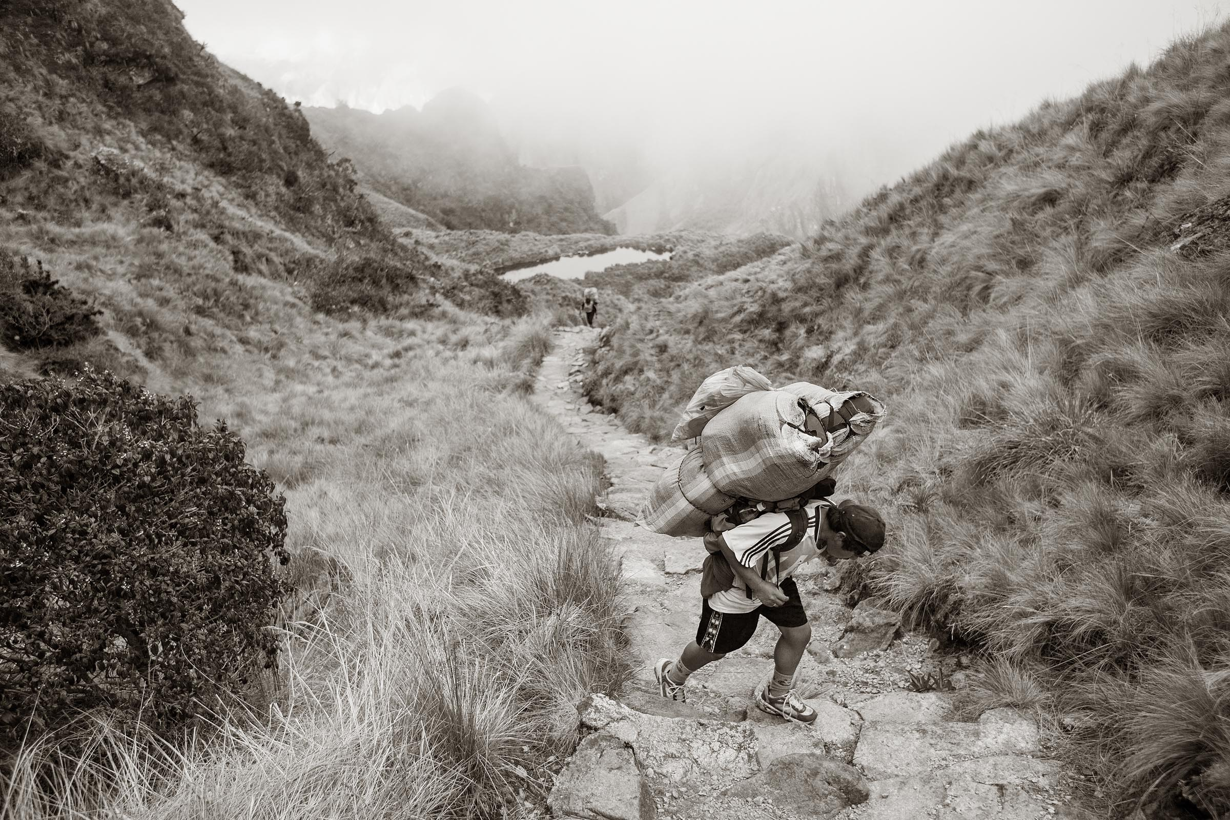 A porter approaches the Runkuracay Pass along the Inca Trail. The pass is the second highest point along the trail with an altitude of 3950 meters above sea level. Carrying heavy loads teams of porters haul everything their clients will need to make the trek to Machu Picchu.