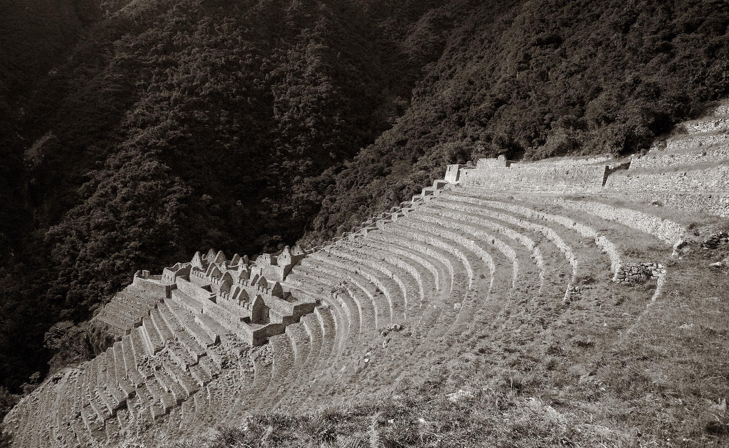 A moonlit timed exposure of the archaeological site of Wiñaywayna.