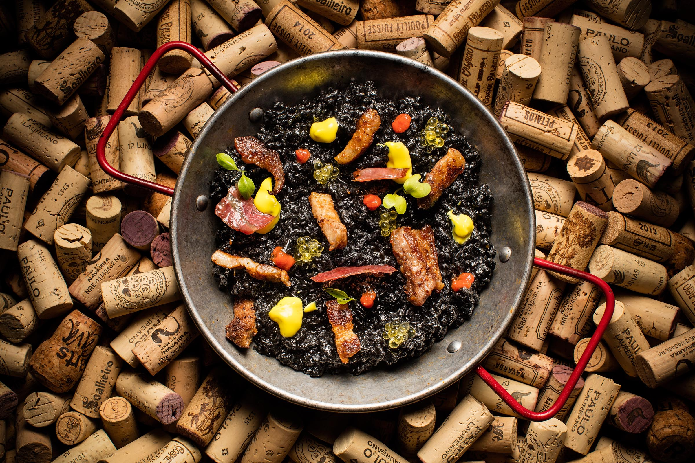 Black Pork Paella : Squid Ink Rice / Pata Negra / Iberico Pork Collar / Iberico Pork Belly / Olive Oil Caviar / Chili Sauce / Saffron Mayo