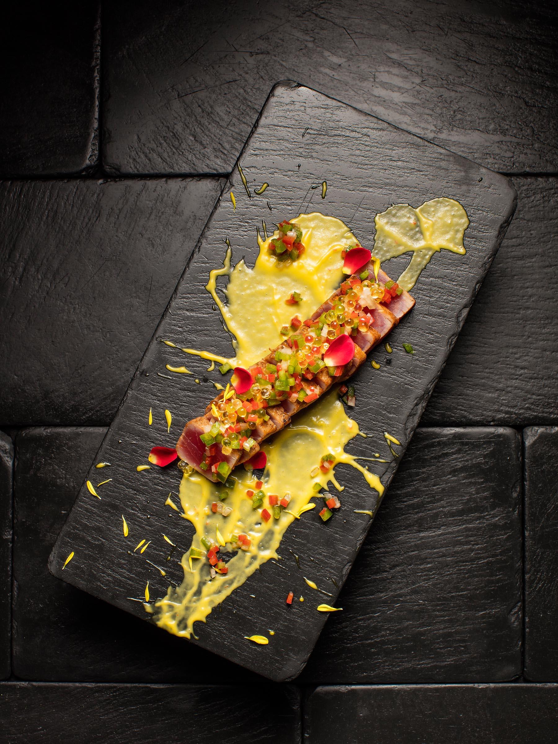 Tuna La Plancha : Mango Chili Sauce / Bell Pepper Piccata / Olive Oil Caviar